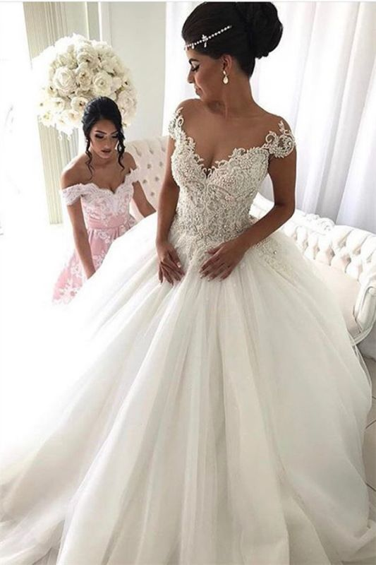 2020 Beads Lace Royal Wedding Dresses Cheap | Princess Ball Gown Sheer Tulle Sexy Bridal Gowns