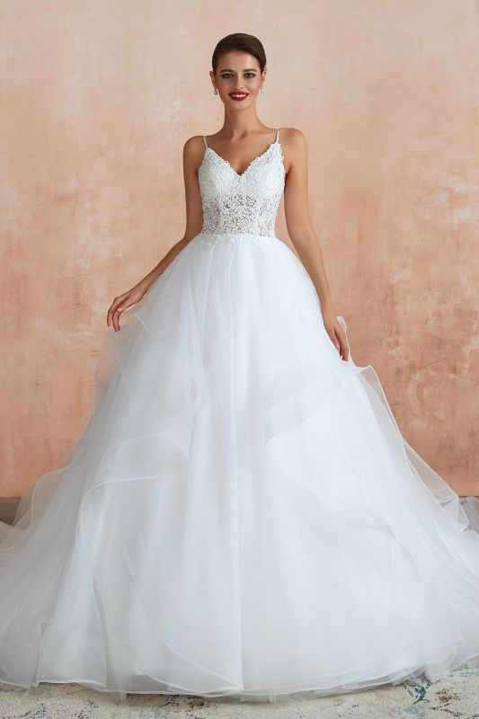 Chic Spaghetti Straps Lace Wedding Dress with See Through Bodice