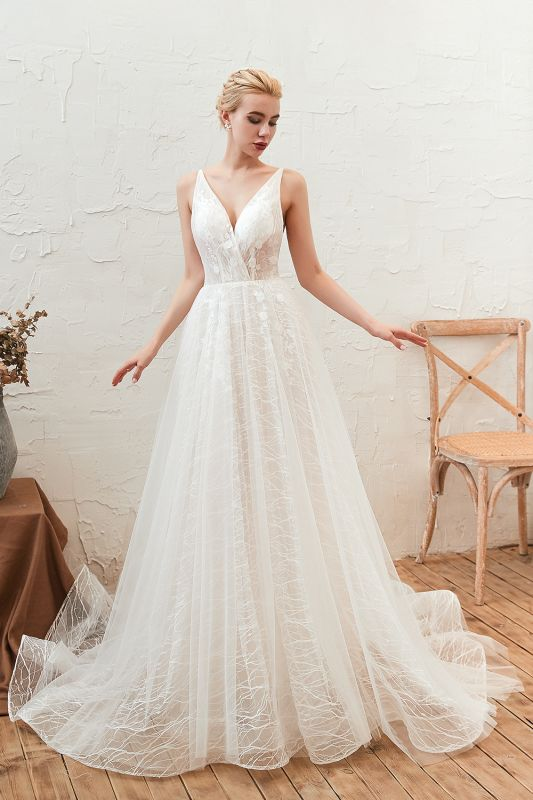 Affordable Tulle V-Neck Long Wedding Dress with Appliques