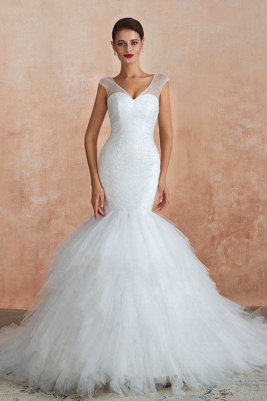 Sparkly Mermaid Sweetheart White Tulle Wedding Dress with Sequins