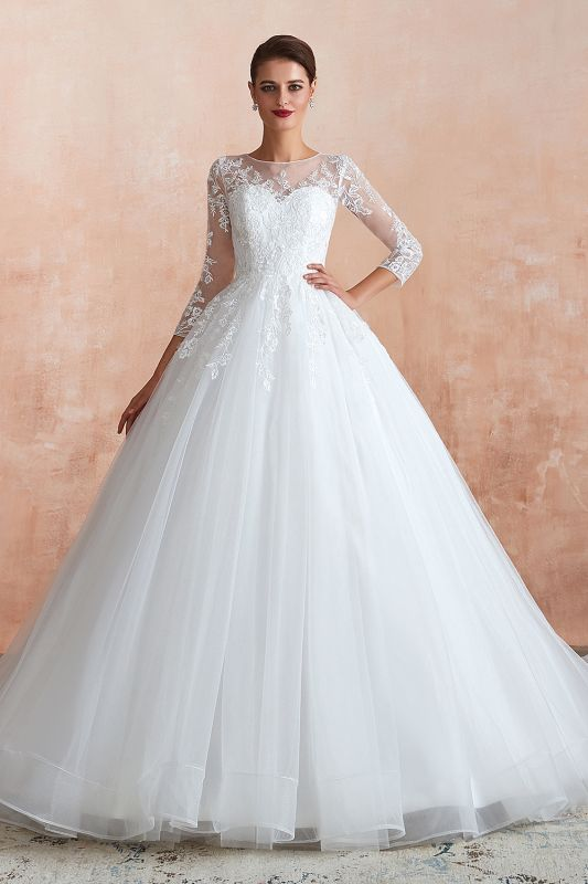 Affordable Lace Jewel White Tulle Wedding Dress with 3/4 Sleeves