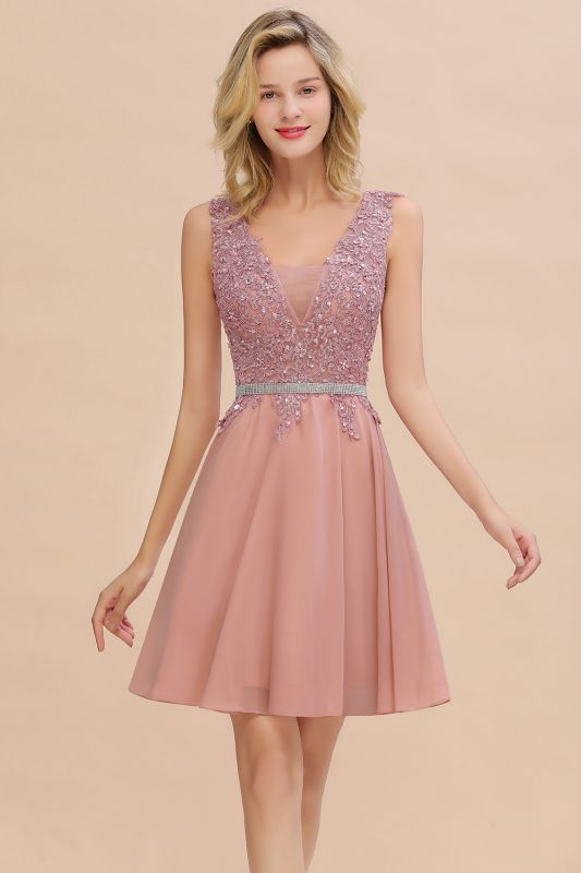 Lovely Sleeveless Short Prom Dress   Mini Homecoming Dress With Appliques