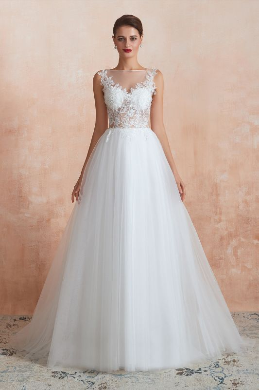 Exquisite Sequins White Tulle Affordable Wedding Dress with Appliques