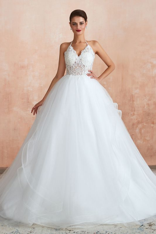 Exquisite Lace Halter Ball Gown White Wedding Dress with Open Back