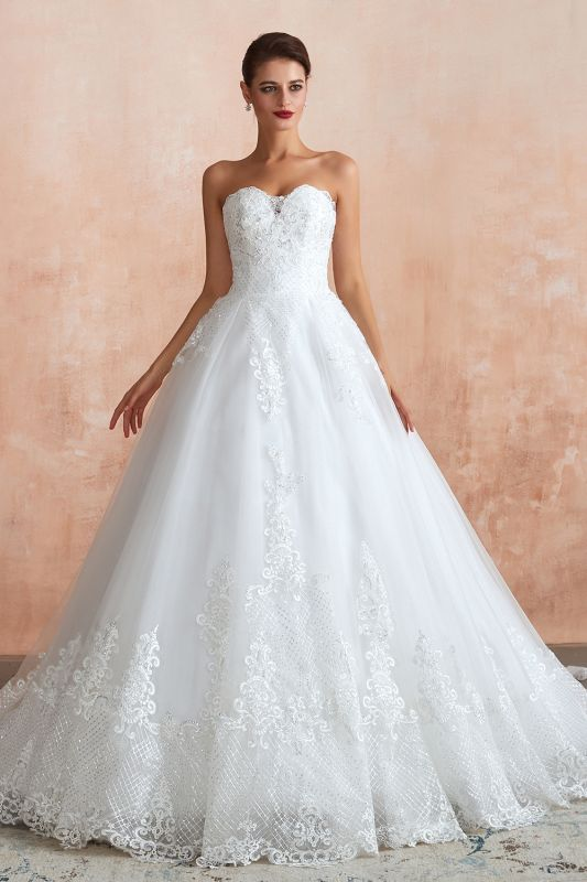 Stylish Strapless White Lace Affordable Wedding Dress with Low Back