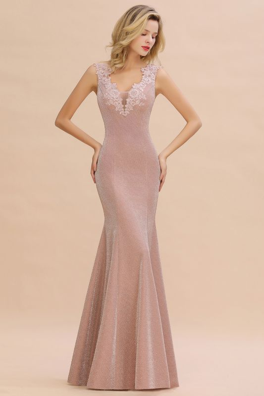 Dusty Pink Shinning Long Prom Dress Mermaid With Appliques