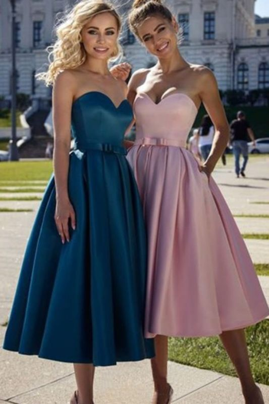 Bow Strapless Belted Short Bridesmaid Dresses | Sweetheart A-line Marvelous Prom Dresses BC4038