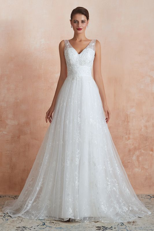 Affordable V-Neck Tulle Lace Long White Wedding Dress