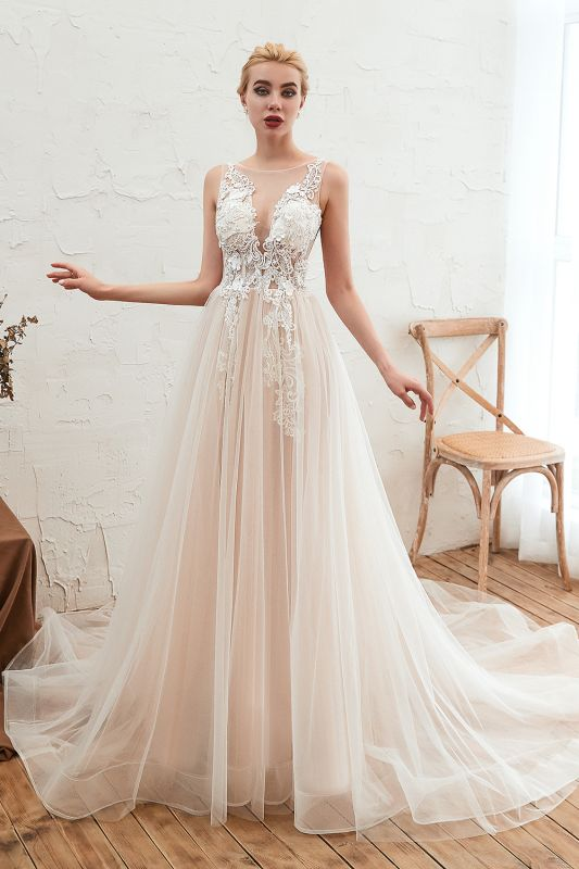 Unique Tulle V-Neck Ivory Affordable Wedding Dress with Appliques