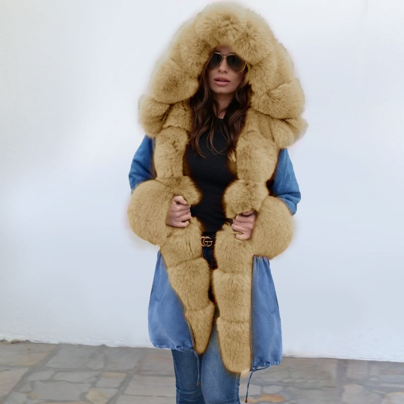 Women's Solid Color Hooded Long Faux Fur Coat Winter Jacket