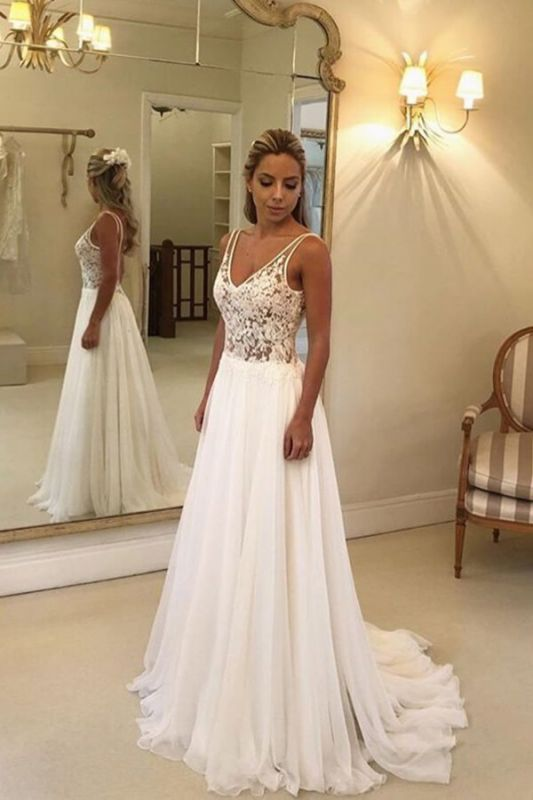 V-Neck Sleeveless Beach Wedding Dress Lace Long Bridal Gowns On Sale BC0875