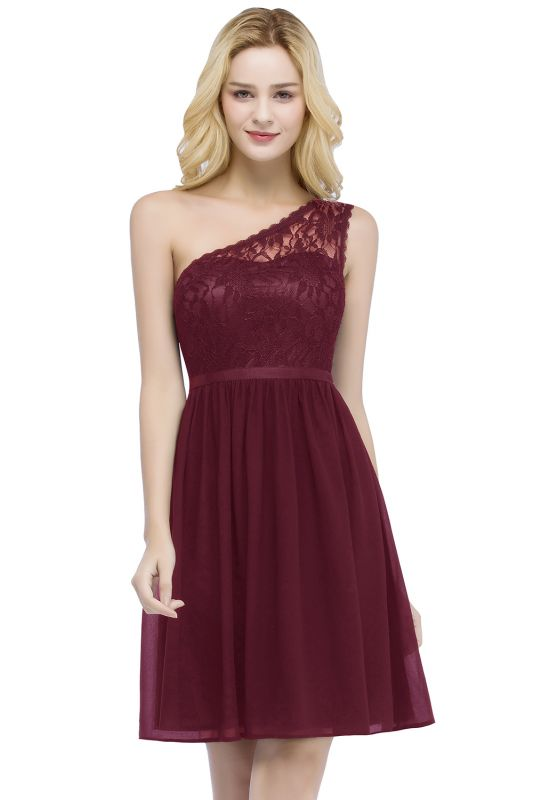 Top Short Homecoming Lace Dresses A-line One-shoulder Chiffon with Sash