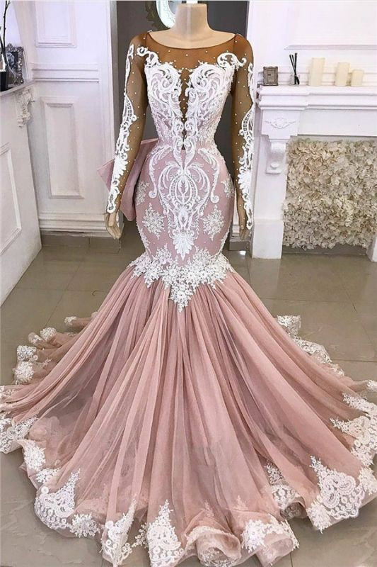 Long Sleeve Mermaid Prom Dresses Cheap | Beads Lace Appliques Pink Evening Gowns 2020 BC4187