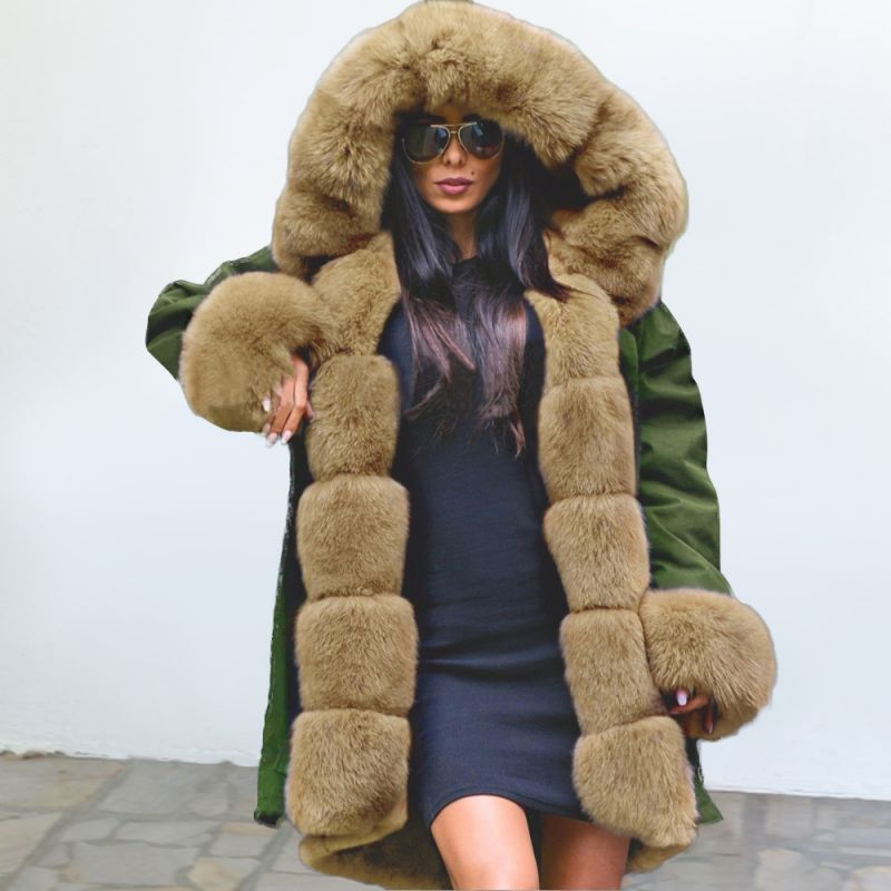 Classic Army Green Faux Fur-trimmed Long Coat Winter Jacket