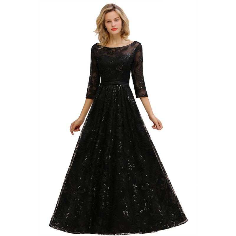 Sexy Black 3/4 Sleeves Sequins Prom Dress | Long Evening Gowns