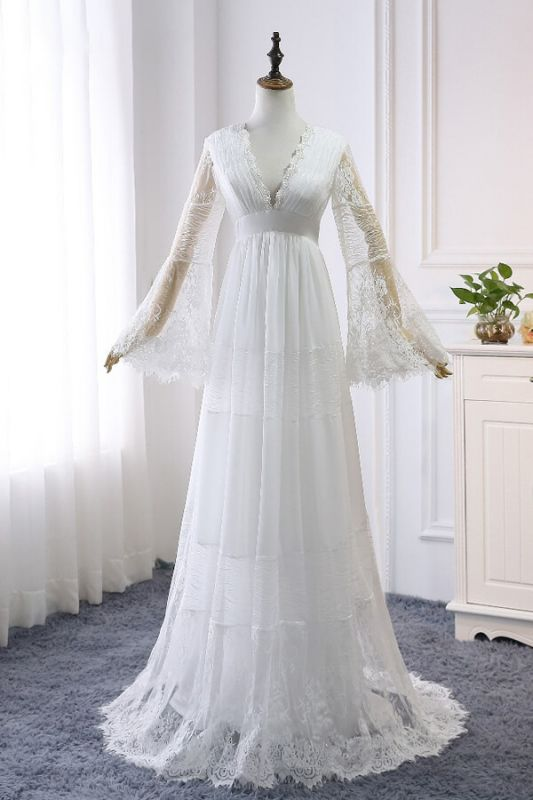 Chic Empire Lace Tulle Wedding Dress   Long Sleeves V-Neck Appliques Bridal Gowns