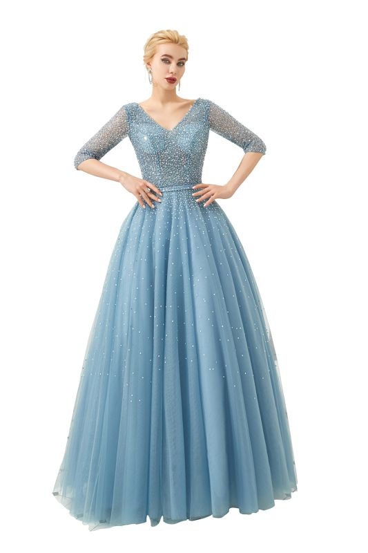 Dusty Blue V-Neck Half-Sleeve Prom Dress Long With Beadings Lace-up