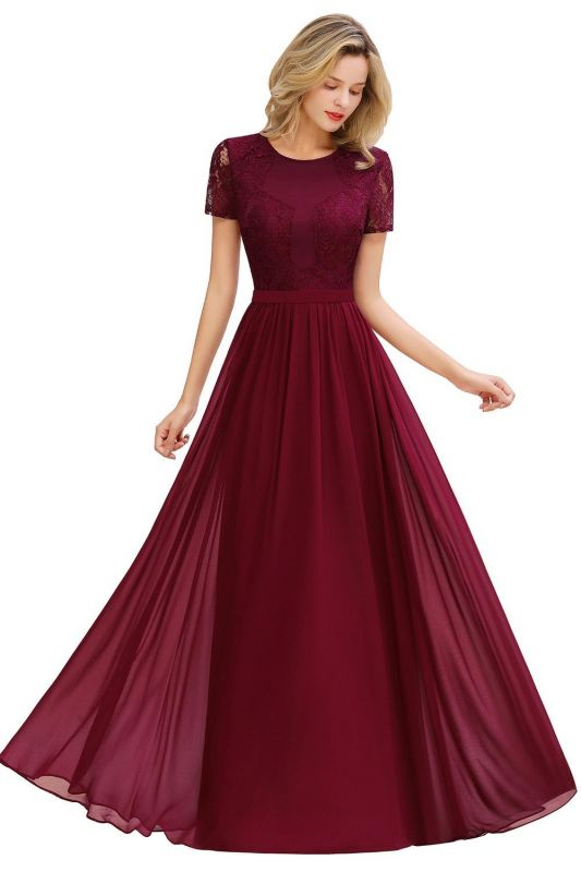 Chic A-line Chiffon Lace Bridesmaid Dress with Short Sleeves On Sale