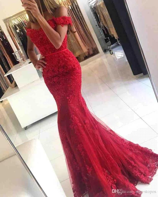 Glamorous Mermaid Lace Prom Dress 2020 Off-the-shoulder Red Appliques Evening Dress