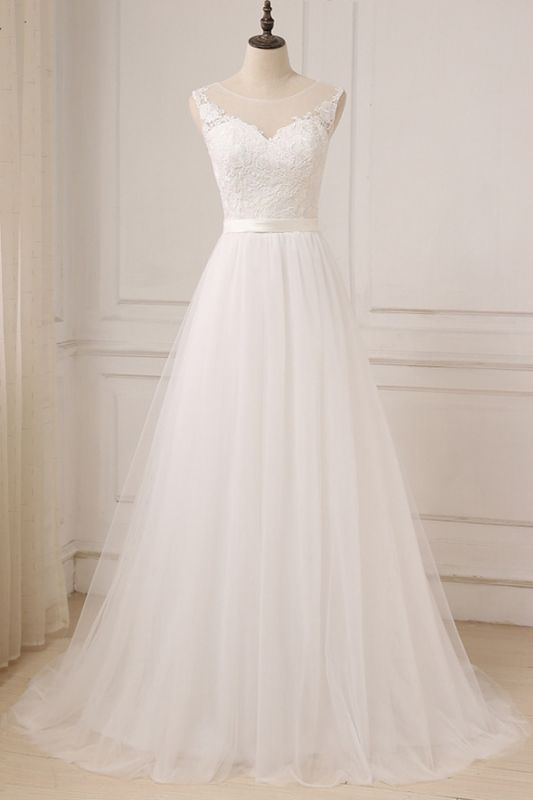 Glamorous Tulle Sleeveless Jewel Wedding Dress | White A-line Appliques Bridal Gowns