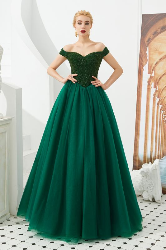 Princess Off-the-Shoulder Prom Dress | Beadings Sweetheart Ball Gown Evening Gowns