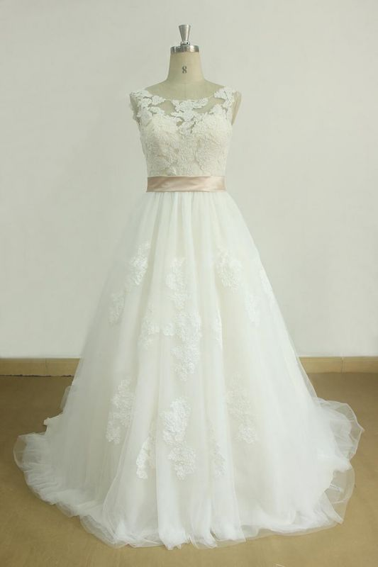 Chic Jewel Lace Appliques Wedding Dress | Sleeveless Tulle A-line Bridal Gowns
