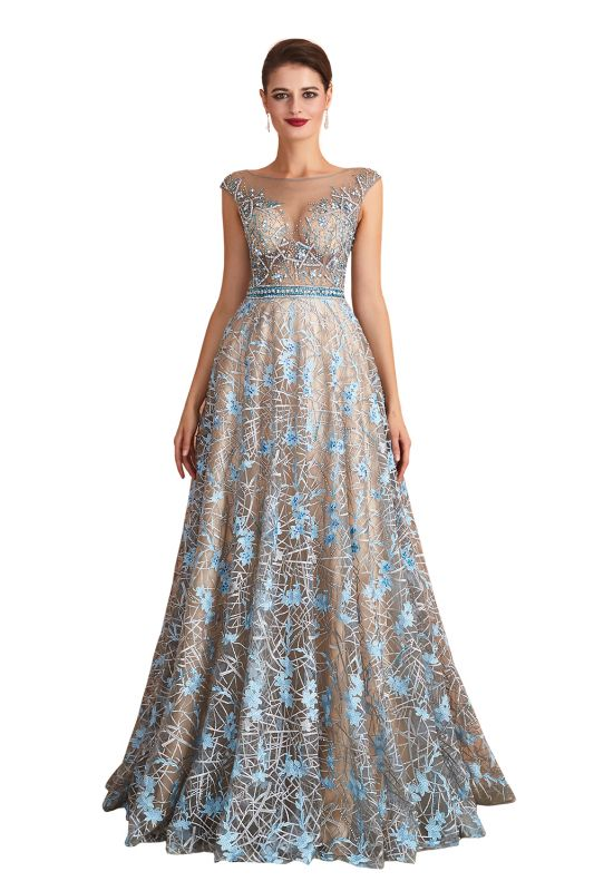 Designer Cap Sleeves Crystal Long Prom Dress With Blue Appliques