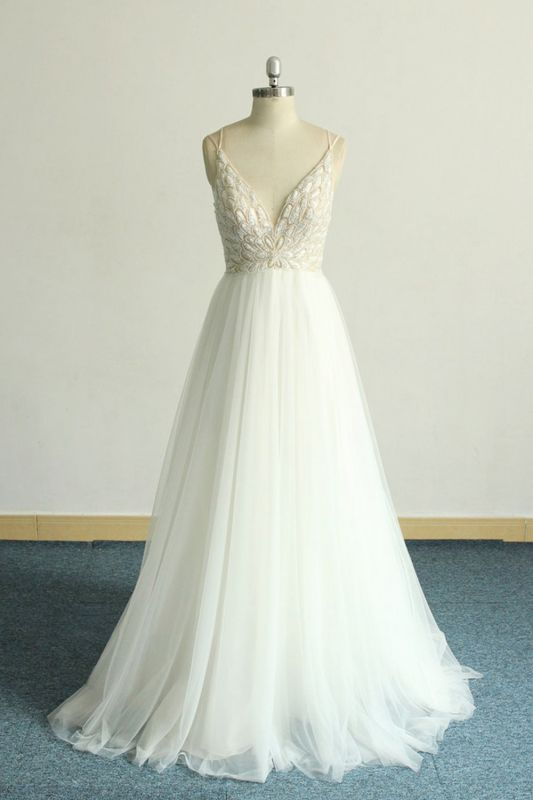 Gorgeous A-line White Lace Tulle Wedding Dress | Sleeveless Appliques Bridal Gowns