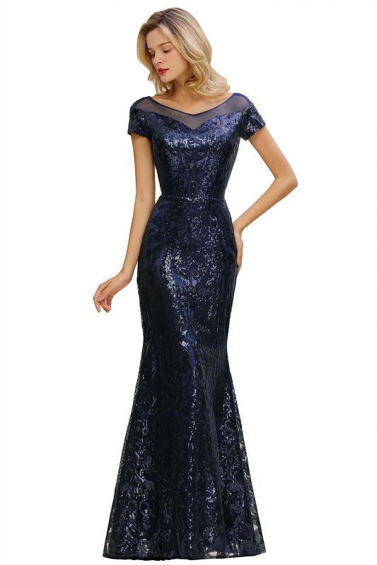 Navy Short Sleeve Sequins Prom Dress | Mermaid Long Evening Gowns