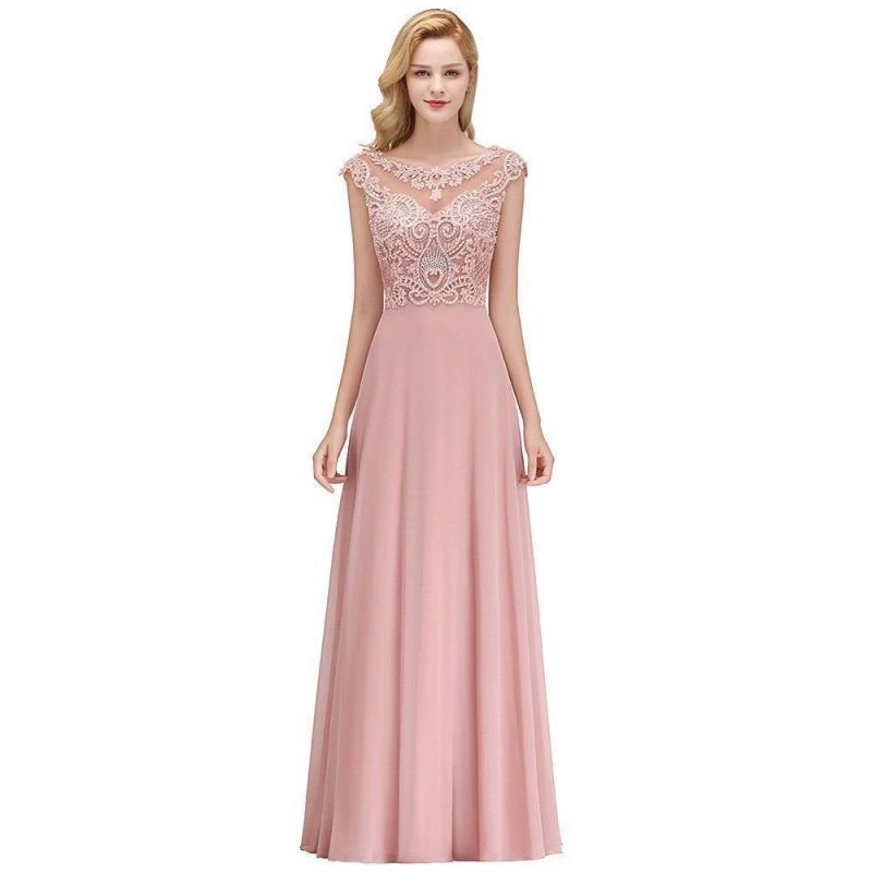 A-line Tulle Lace Bridesmaid Dress with Pearls On Sale