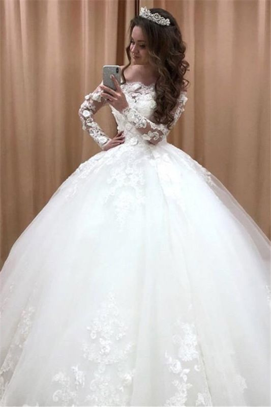 Glamorous Off Shoulder Long Sleeves Wedding Dresses | Lace Flowers Bridal Ball Gown 2020