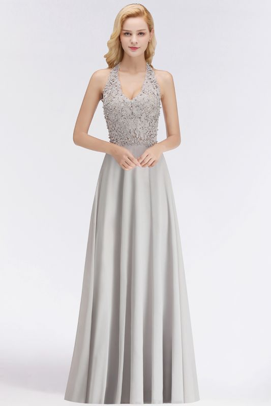 A-line Halter Chiffon Lace Bridesmaid Dress with Beadings On Sale