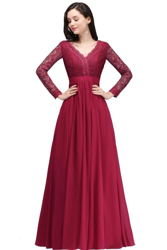 Elegant A-line Chiffon Lace Long Sleeves Evening Dress in Stock