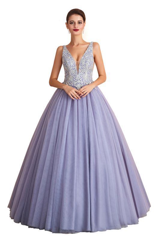 Gorgeous Lavender Lace Prom Dress | V-Neck Ball Gown Tulle Formal Wears