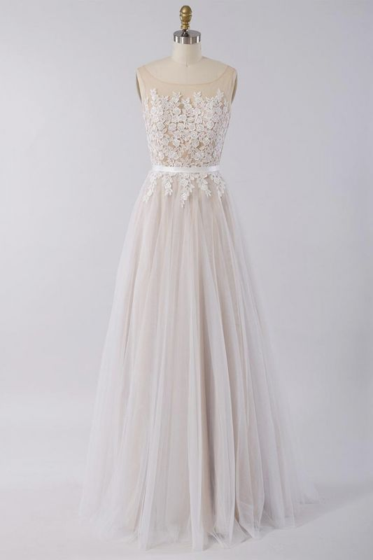 Affordable Sleeveless Jewel Appliques Wedding Dress | Tulle Ruffles A-line Bridal Gowns