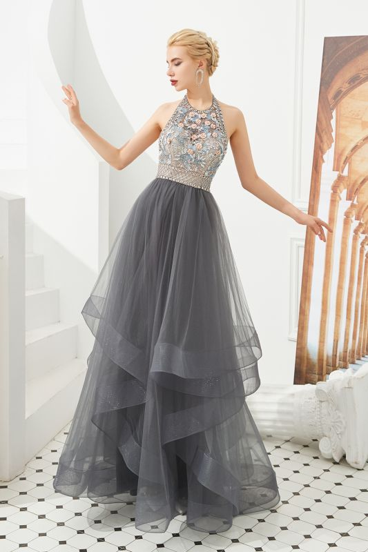 Stylish Halter Beaded Tiered Blackless Tulle Prom Dress