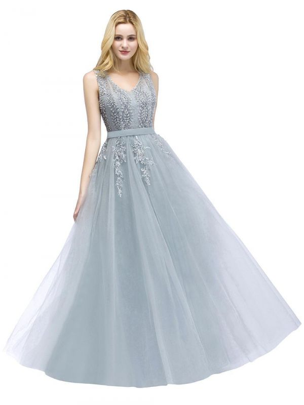 Stylish V-neck Tulle Lace Long Evening Dress in Stock