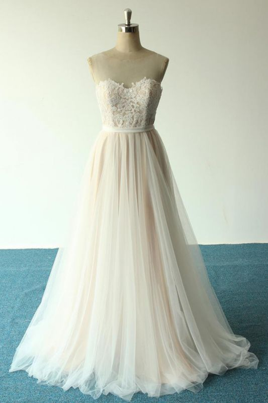 Affordable Jewel Sleeveless A-line Wedding Dress | Tulle Lace Bridal Gowns