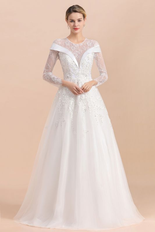 Gorgeous Long Sleeve Lace Wedding Dress | Appliques Bridal Gowns With Beadings