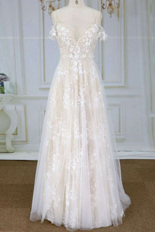 Stylish Spaghetti Straps Off-the-shoulder Appliques Wedding Dress | A-line Tulle Lace Bridal Gowns