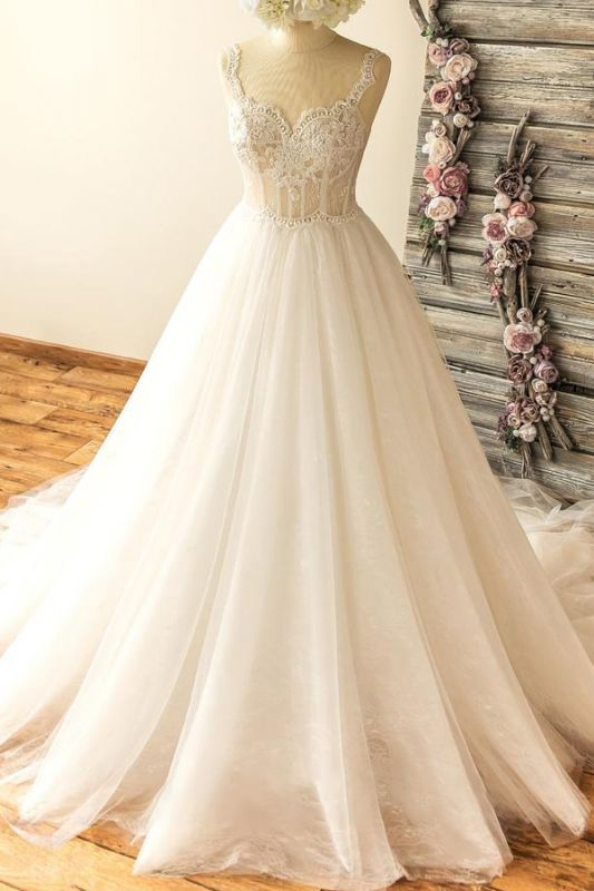 Gorgeous Straps Sleeveless Tulle Wedding Dress | A-line Appliques Lace Bridal Gowns