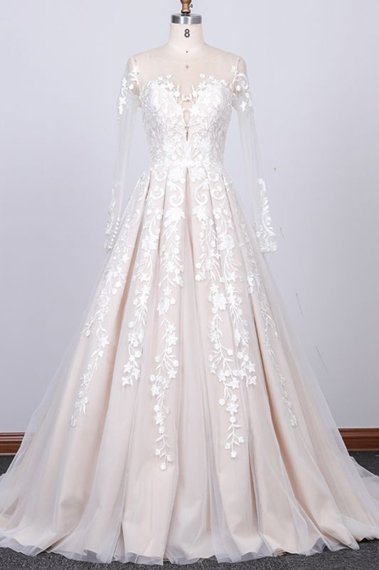 Gorgeous Longsleeves Jewel A-line Wedding Dress | White Appliques Lace Bridal Gowns