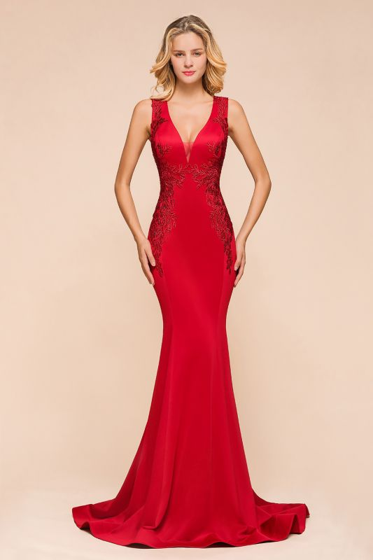 Gorgeous Red Mermaid V-Neck Prom Dress Long With Lace Appliques