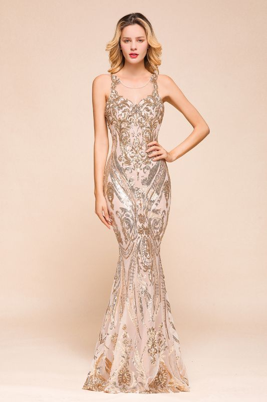 Gorgeous Champagne Sequins Mermaid Prom Dress | Long Evening Gowns