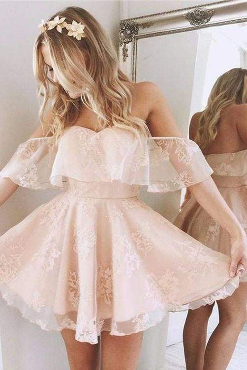 Sweetheart Off The Shoulder Lace Short Homecoming Dresses