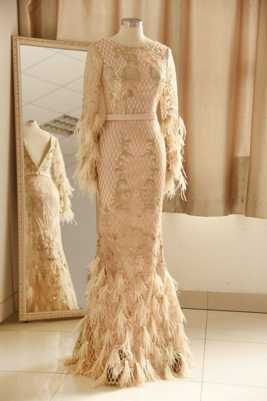 Glamorous Jewel Lace Appliques Prom Dress | Long Sleeves Mermaid Formal Dress with Fur