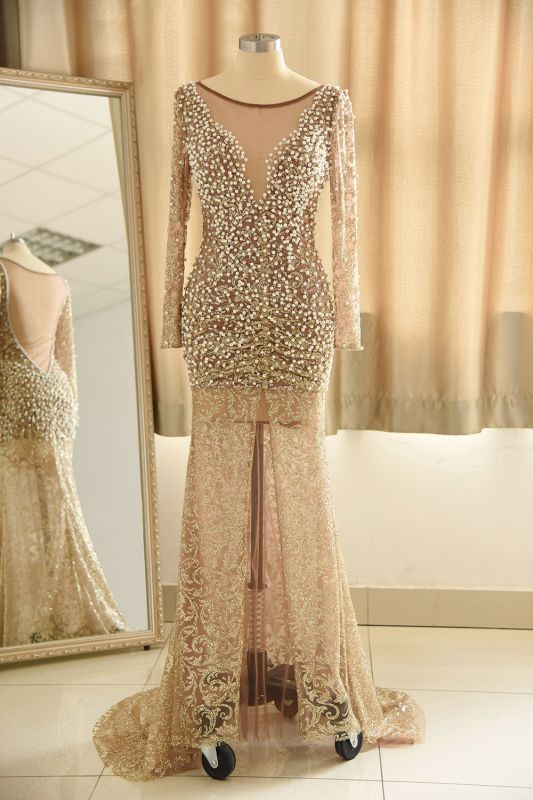 Glamorous Jewel Lace Front Slit Prom Dress   Long Sleeves Appliques Formal Dress with Pearls