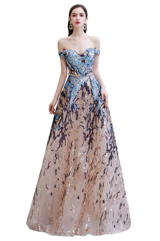 Glamorous Off-the-Shoulder Sequins Evening Gowns | Long Multi-Color Prom Dress