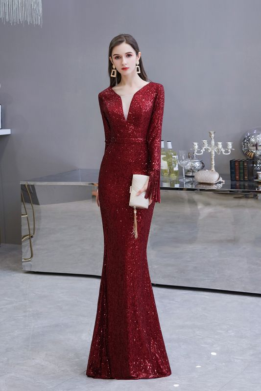 Gorgeous Sequins Long Sleeve Prom Dress | V-Neck Mermaid Evening Gowns