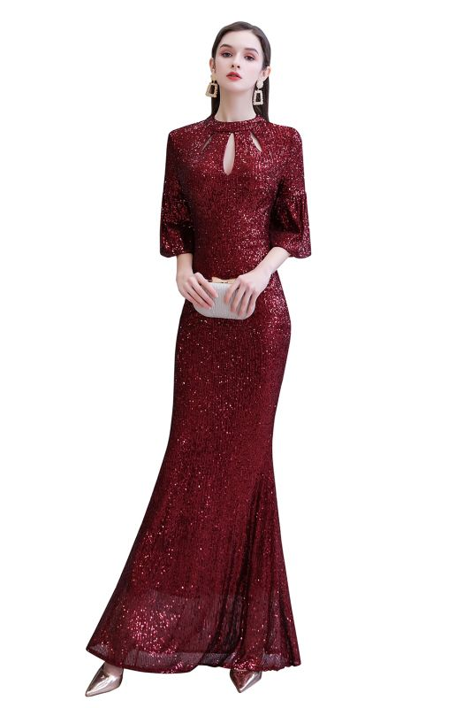 Burgundy Short Sleeve Sequins Prom Dress | Long Party Gowns